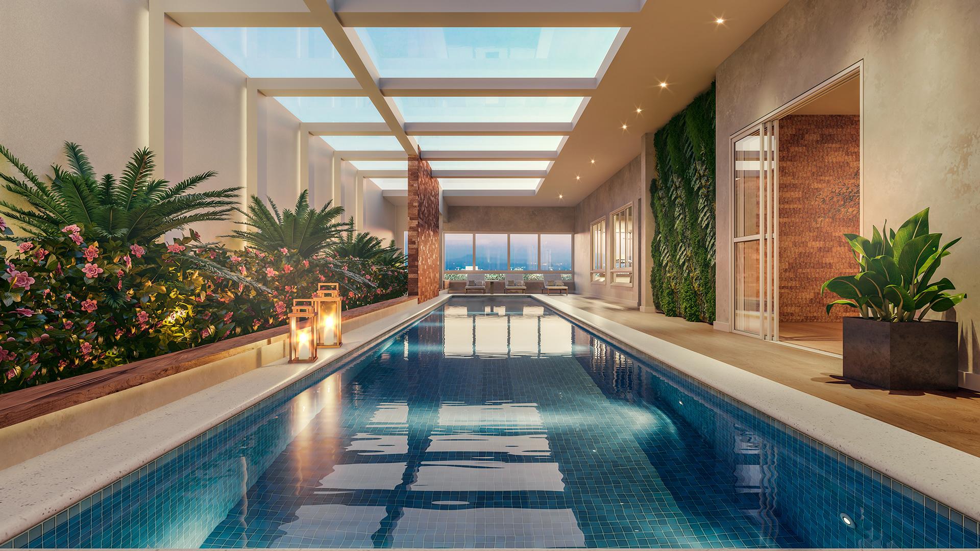 piscina coberta com raia