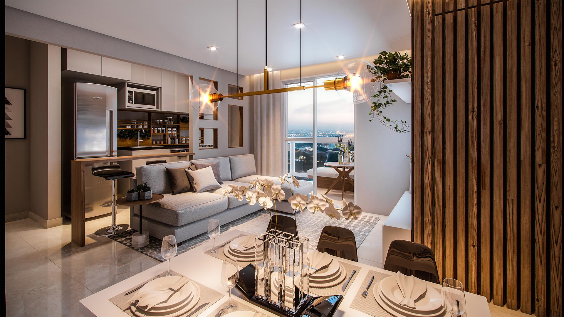 Living com cozinha Integrada PLanta Tipo B